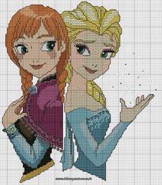 Anna & Elsa frozen cross stitch 2-6