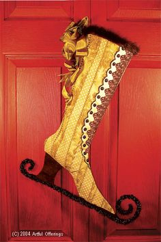 Victorian Skate Stocking Pattern by Artful Offerings ~ Karina Hittle Victorian Christmas, Pink Christmas, Vintage Christmas, Christmas Crafts, Christmas Ornaments, Christmas Ideas, Christmas Mantles, German Christmas, Christmas Sewing