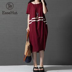3166cc85b38 Aliexpress.com   Buy EaseHut New Women Loose Midi Dress Contrast Stripes  Short Sleeves Round Neck Casual Vintage Dresses Baggy Robe Summer Vestidos  from ...