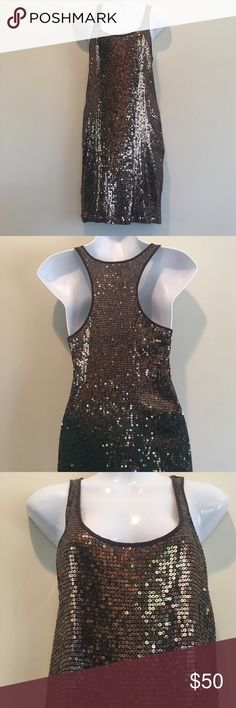 Stunning Michael Kors glittery dress. Stunning brown shimmering dress from Michael Kors!! Excellent condition. Sequins on front and back. Michael Kors Dresses