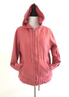J Crew Womens Vintage Fleece Size L Pink Pull String Hoodie Insulated Zip Up #JCREW #Hoodie