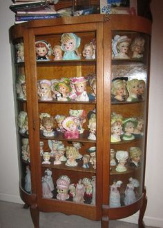 This is my very own personal head vase collection ~ I have been collecting head vases for 20 years. ~ Mary Thomas