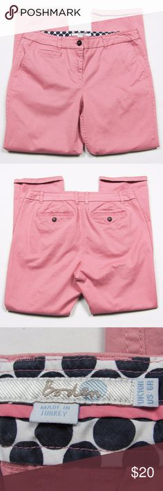 """Boden 7/8 Chino Pants Ankle Cuffed Pink Size 6 Super cute chinos from Boden! 7/8 Chino Pants hit ankle-length and are super soft. Angle pockets in front, tiny front pocket detail, button back welt pockets. Cuffed lightly at bottom.""""Lavender"""" Pink, a bright rose hue. Cotton blend, easy care. Retail $72.   Great condition. No flaws or damage.   Size: Women's Size 6R, 6 Regular. UK 10R.  Measurements (flat across): 16.5"""" waist, 19.5"""" hip, 27"""" inseam, 36"""" length   Reasonable offers appreciated…"""