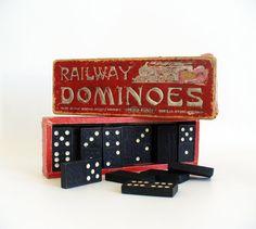 Vintage dominoes  Spear's Railway dominoes by RetroDelia on Etsy