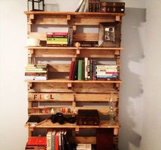 Beautiful Bookshelf Made from Wooden Pallets