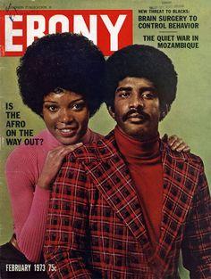 Ebony magazine, February 1973 — Is the Afro on the Way Out? Jet Magazine, Black Magazine, Black Love, Black Is Beautiful, Black Art, Ebony Magazine Cover, Magazine Covers, Afro, John Johnson