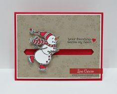 Slider Card Video Tutorial! How to make a snowman slider card using a penny as a spinner. Spirited Snowman. Stampin' Up! #christmascards #greetingcards #cardmaking #lisacurcio #lisasstampstudio