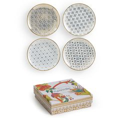 Rosanna Kashmir Appetizer Plates, Set of 4 (425 NOK) ❤ liked on Polyvore featuring home, kitchen & dining, dinnerware et rosanna dinnerware