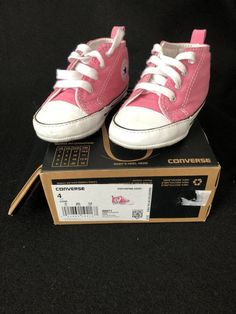 9e68f84144e Converse Crib Shoes First Star High Top Pink Size 4 Used Excellent  Condition  fashion
