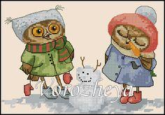 Gallery.ru / Совушки и снеговик - Платные.Сделаны по заказам. - Vorozheya Cross Stitch Owl, Cross Stitch Books, Cross Stitch Animals, Cross Stitch Embroidery, Cross Stitch Patterns, Owl Pet, Felt Owls, Teddy Bear, Canvas