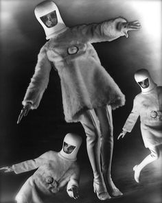 Science-fiction inspired fashion shot of three models, each wearing helmets, artificial fur dresses, gloves, and thigh-high boots. 60s And 70s Fashion, Vintage Fashion, Aliens, Science Fiction, Space Girl, Space Age, Space Fashion, Retro Futuristic, Vintage Boots