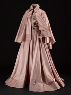 """1948 ball gown by Jacques Fath, Paris. """"Woman's ball gown of pale pink satin, full length sleeves with zip fastenings at wrists, bodice… Jacques Fath, 1940s Fashion, Vintage Fashion, Vintage Couture, Vintage Dresses, Vintage Outfits, 1940s Dresses, Pink Dresses, Designer Gowns"""