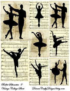 Vintage Ballet Silhouettes Collage Sheet 2 on Music and Script Backgrounds -Buy 2 Get 1 Free. $4.25, via Etsy.