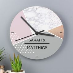 Personalised Geometric Pattern Glass Clock By The Letteroom   notonthehighstreet.com