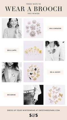 How to wear a brooch this winter season from Sweet & Spark.