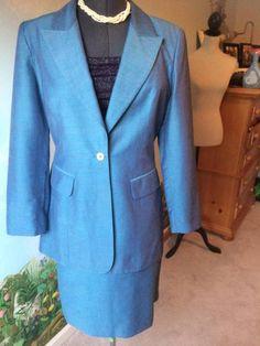 A.B.S. by Allen Schwartz 3PC Blue Long Sleeve women Skirt Suit Size Medium  #ABSbyAllenSchwartz #SkirtSuit