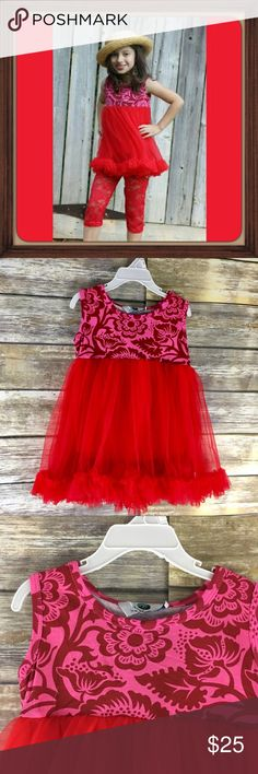 Red Rose Tutu Dress Top Matching Lace Leggings NWT Be Bold Be Beautiful and Be Comfortable Red Rose Beautiful Dress Tutu Top with Sheer leggings. Short sleeve tutu Design dress top. Sheer ruffled skirt around it soft light inside lining. Leggings are sheer lace with Rose Design  print. Beautiful Boutique quality design. Red in color. Size 2T. Perfect for pictures or holiday wear.  Mulitiple of the same outfit available along with separate listings with other sizes available.  Bundle and…
