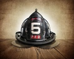 Vintage Fireman helmet Photo Art Print, PFD 5
