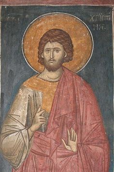 Saint Christopher. The fresco from Christ Pantocrator Church from Visoki Dečani Monastery (Kosovo province of Serbia). About 1350