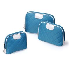 BMC 3 pc Cyan Blue Diamond Quilted Nylon Makeup Organizer Travel Case Cosmetic Bag Set > Details can be found  : Travel cosmetic bag