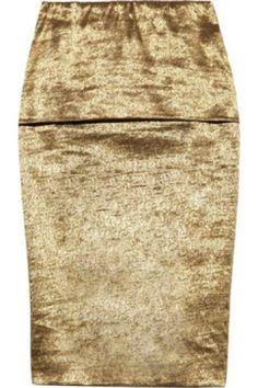 Donna Karan Metallic Fold-Over Stretch Pencil Skirt worn by Kim on Kourtney & Kim Take Miami