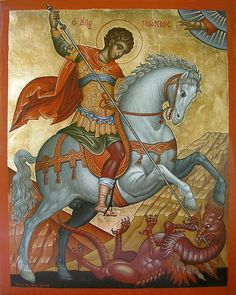 Saint George the Great Martyr of Syria Orthodox Icon George & Dragon, Saint George And The Dragon, Byzantine Art, Byzantine Icons, Religious Icons, Religious Art, Printable Images, Orthodox Icons, Angel Art