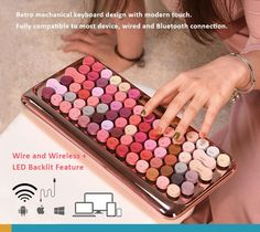 Lofree Retro mechanical backlit keyboard design with modern touch. Wired and Bluetooth connection, Fully compatible to most devices. Bluetooth Keyboard, Cool Things To Buy, Stuff To Buy, Brand Names, Connection, Dots, Wire, Touch, Product Ideas