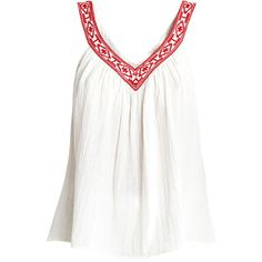 Christophe Sauvat Mohican Tank Top ($120) ❤ liked on Polyvore featuring tops, v neck tank top, white cotton tank, white tank, embroidered tank and white sleeveless top