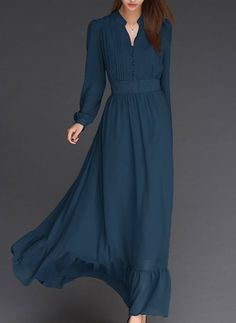 Chiffon Solid Long Sleeve Maxi Buttons Dresses (1015202) @ floryday.com