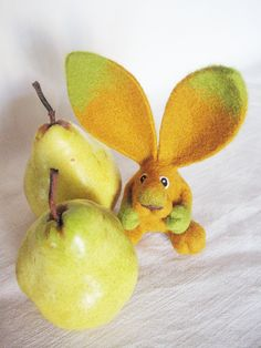 Mr. Pear - needle felted rabbit