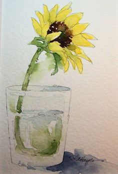 Watercolor Paintings by RoseAnn Hayes: SUNFLOWER IN WATER GLASS