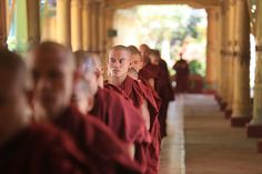 Monks of Kha Khat Wain Kyaung Monastery stand in line in Bago, Myanmar on February 19, 2013. (hans a rosbach/Flickr)