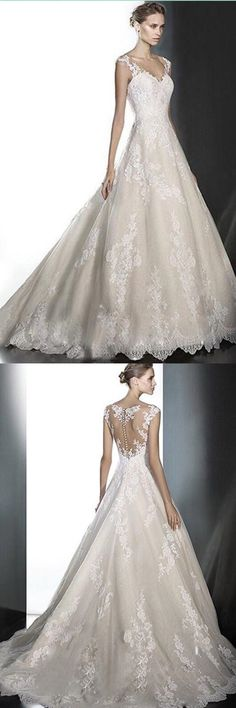 2017 Sexy Off Shoulder Deep V-Neck Lace Wedding Dress With Appliques