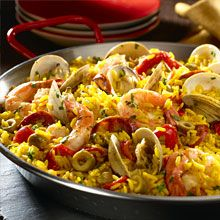Paella Marinera - Rice with Seafood | GOYA {yes, we Puerto ricans cook,  eat & love paellas.  Is part of our beloved  Spanish  heritage. }