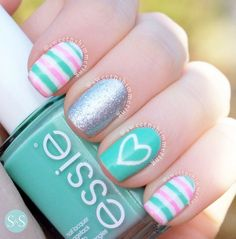 Nail inspiration, love the design would probs change the colours Stripes and heart with glitter