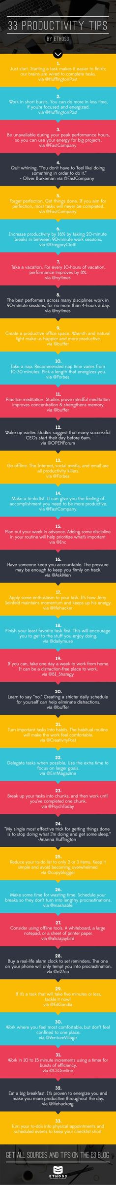 33 Productivity Tips, in 140 Characters or Less by Ethos3 | Presentation Design and Training via slideshare