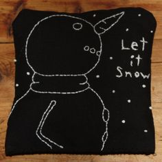 "Let It Snow hand embroidered snowman pillow (~5""x5"")"
