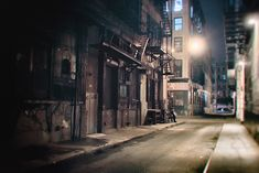 New York City Night: Take a walk down Cortlandt Alley in lower Manhattan letting the street lights guide the way.