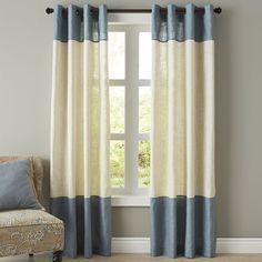 Blythe Colorblock Curtain - Smoke Blue