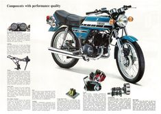 Supplied by a specialised motorcycle literature dealer with 30 years experience, who has earned a worldwide reputation for the range and quality of reproduced, new and antique publications sold. Yamaha 125, Yamaha Bikes, Classic Motors, Classic Bikes, Vintage Motorcycles, Cars And Motorcycles, Mini Motorbike, Japanese Motorcycle, Hot Bikes