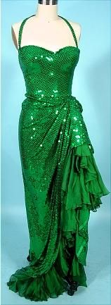 """I can't seem to shake my obsession with green sequins, and this 1991 gown is amazing!  Worn by Julianne Moore in the HBO Movie """"Cast A Deadly Spell"""". Designed by Mary Rose, who is President of the Costume Designer's Guild and guest curator at the Fashion Institute of Design and Merchandising (FIDM) in Los Angeles. #dress #formal #sparkly"""