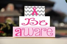 Breast Cancer Awareness Be Aware Block Set  by BlendedCreationsInc