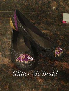 Baltimore Ravens Glitter flats by Glitter Me Badd
