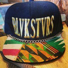 BLVKSTVRS snapback with african cloth on the brim on sale  @ WWW.CITIZINS.BIGCARTEL.COM