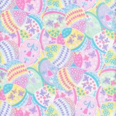 Easter Eggs Pastel Springs Quilt Fabric