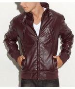 Men maroon-color bomber biker leather, Mens mot... - $149.99