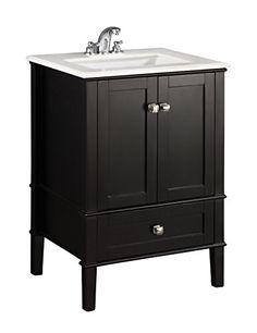 White sink; only one drawer. Simpli Home NL-ROSSEAU-ES-24-2A Chelsea Collection 24-Inch Bath Vanity, Black, 1-Pack Simpli Home http://www.amazon.com/dp/B008AF5YEE/ref=cm_sw_r_pi_dp_zGhPub06YNTES