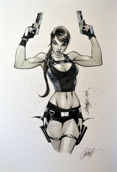 J Scott Campbell Lara Croft Tomb Raider Comic Books Art, Book Art, Laura Croft, J Scott Campbell, Tomb Raider Lara Croft, Drawn Art, Comic Kunst, Comics Girls, Comic Art Girls