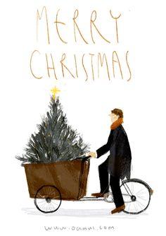 Merry Christmas GIF man riding bike with Christmas Tree