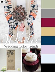 Gorgeous winter wedding color schemes. Look through trending wedding color palettes and find the best color schemes for your winter wedding.